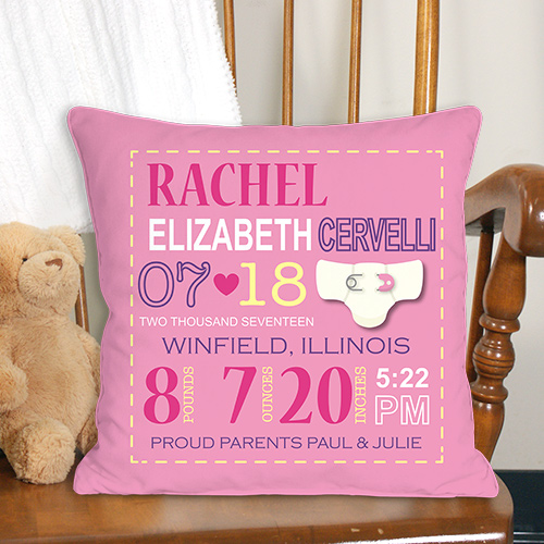 Personalized Girl Birth Announcement Throw Pillow | Personalized Baby Gifts