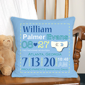 Personalized Boy Birth Announcement Throw Pillow 83069083
