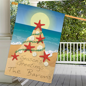 Personalized Tropical Christmas House Flag | Personalized Christmas Decorations