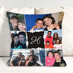 Monogram Photo Collage Throw Pillow 83070823