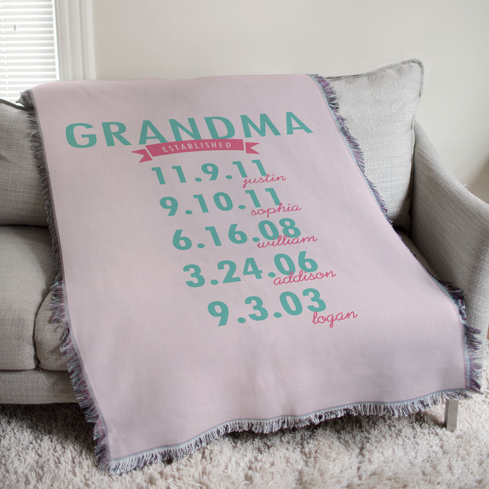 Personalized Mom Established Throw | Personalized Gifts For Grandma