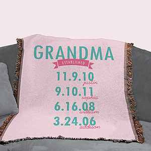 Personalized Mom Established Throw Blanket