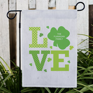 Personalized Shamrock Love Garden Flag 83074202
