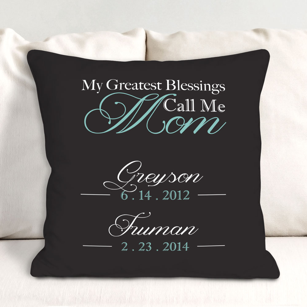 Personalized My Greatest Blessings Throw Pillow | Mom Pillow