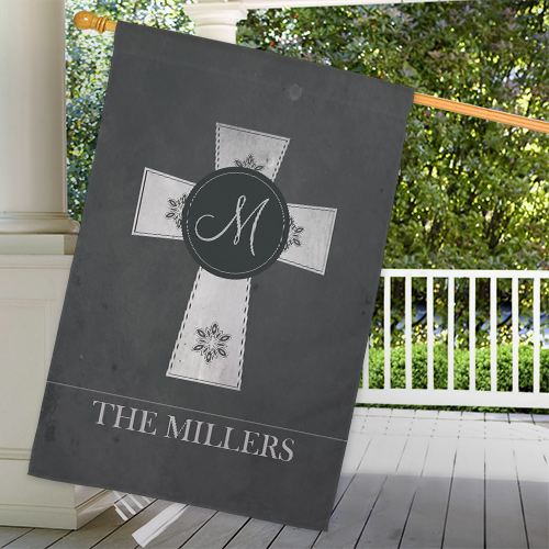 Personalized Family Cross House Flag | Personalized House Flags