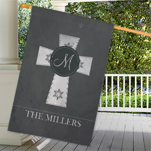 Personalized Family Cross House Flag 83075442L