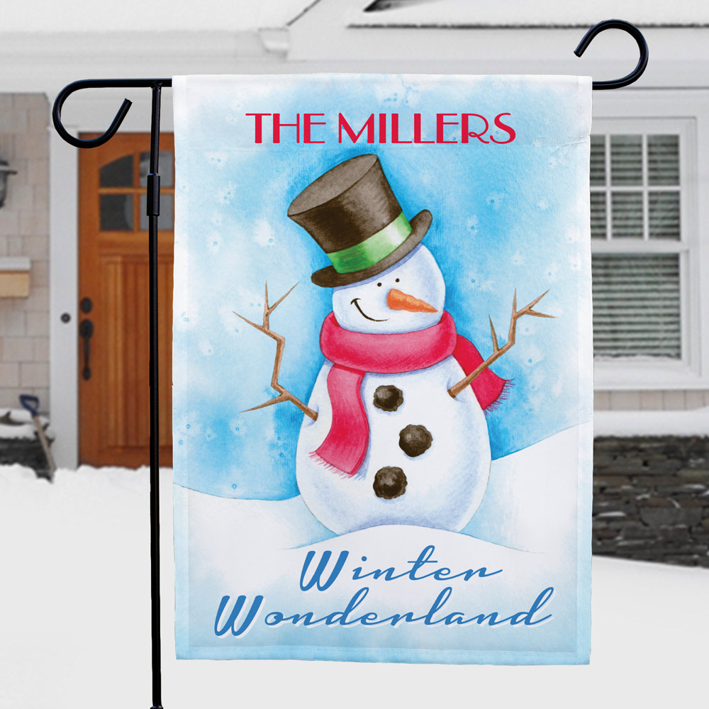 Snowman Personalized Garden Flag | Personalized Christmas Flags