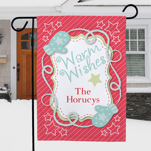 Personalized Holiday Wishes Garden Flag | Personalized Christmas Decorations