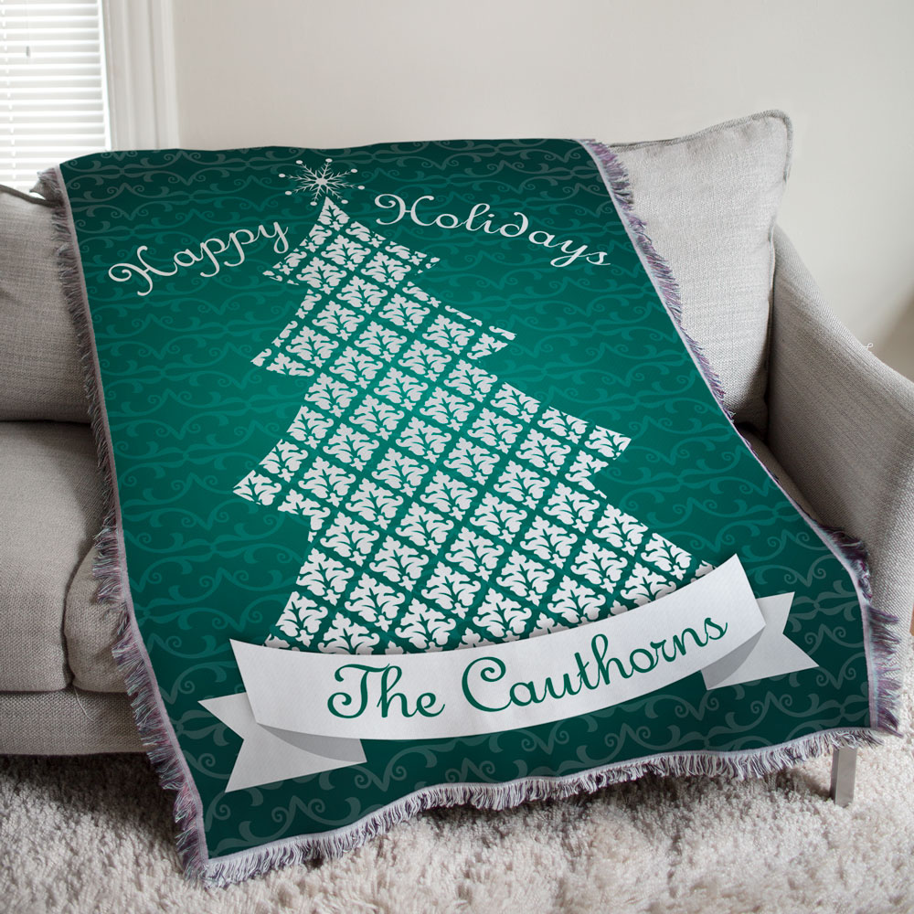 Happy Holidays Throw Blanket | Personalized Christmas Blanket