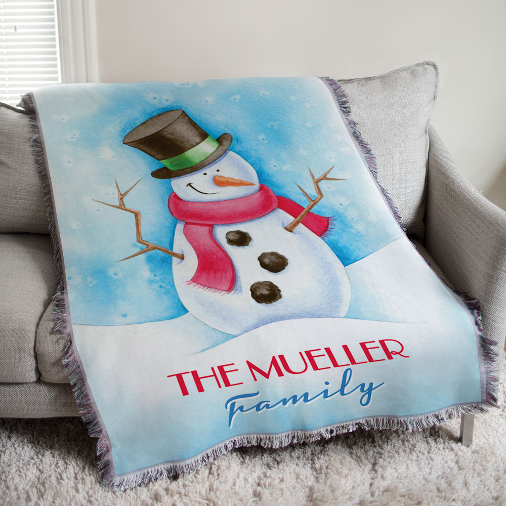 Personalized Snowman Throw Blanket | Personalized Christmas Blankets