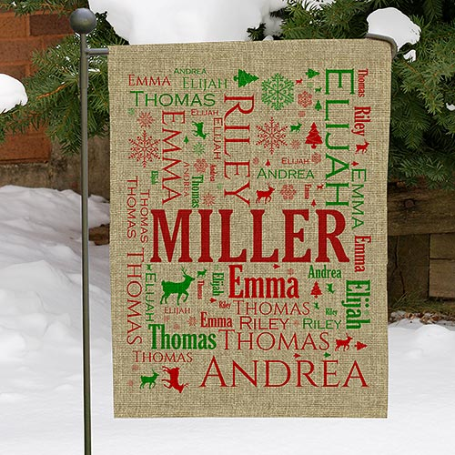 Personalized Family Word-Art Burlap Garden Flag