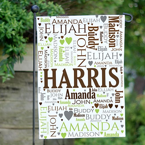 Family Word-Art Garden Flag