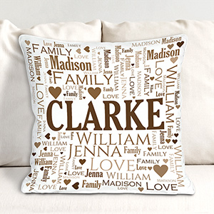 Family Word Art Throw Pillow