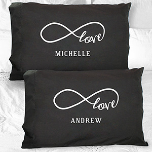 Personalized Infinity Black Pillowcase Set