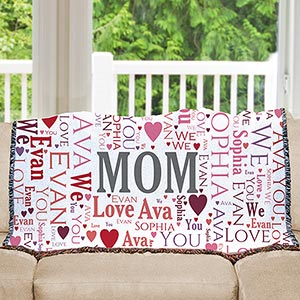 Personalized Mom Word-Art Tapestry Throw | Personalized Gifts for Mom