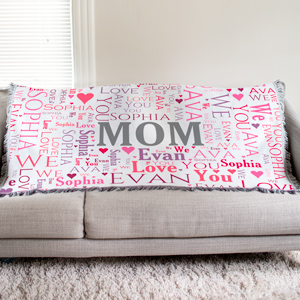 Personalized Mom Word-Art Tapestry Throw | Gifts For Mothers