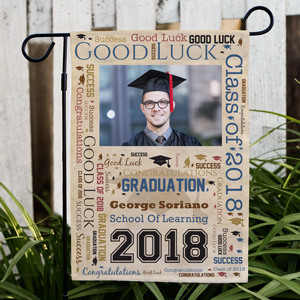Graduation Photo Word-Art Garden Flag | Personalized Graduation Gifts