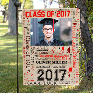 Graduation Photo Word-Art Garden Flag 83094562X