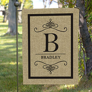 Personalized Family Name Burlap Flag 83095622B