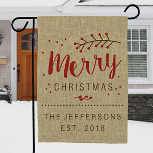 Merry Christmas Personalized Burlap Garden Flag | Personalized Christmas Flags