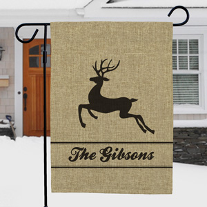 Personalized Holiday Burlap Garden Flag | Personalized Christmas Flags
