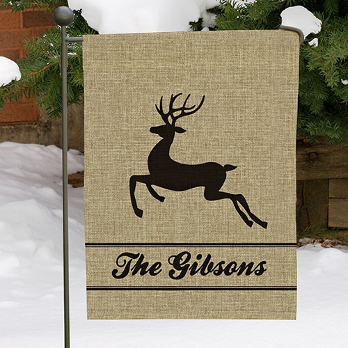 Personalized Holiday Burlap Garden Flag