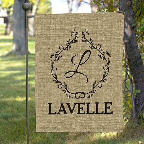 Monogram Burlap Personalized Flag