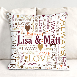 Personalized Loving Couple Word-Art Throw Pillow | Personalized Throw Pillows