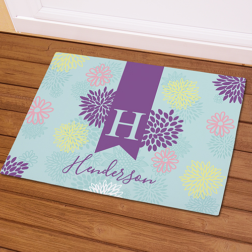 Abstract Floral Personalized Doormat | Monogram Doormat