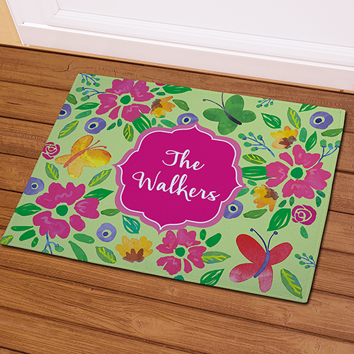 Butterflies and Flowers Personalized Doormat | Mother's Day Gifts