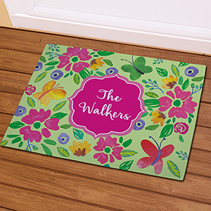 Personalized Butterflies and Flowers Doormat 831111587X
