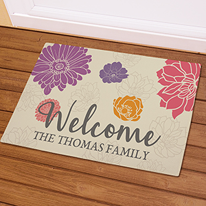 Personalized Welcome Floral Doormat | Housewarming Gifts