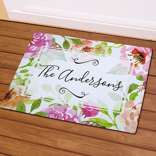 Personalized Floral Watercolor Doormat | Personalized Doormats