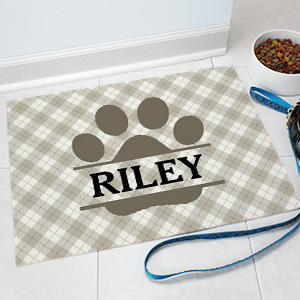 Personalized Plaid Paw Pet Mat | Personalized Pet Mat