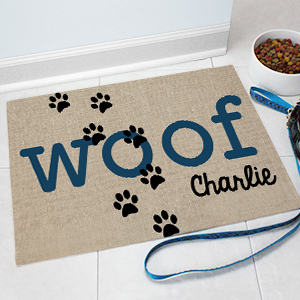 Personalized Woof Pet Mat | Personalized Pet Mat
