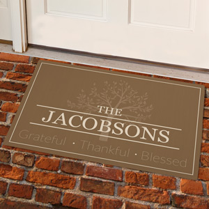 Personalized Grateful-Thankful-Blessed Doormat | Personalized Doormat