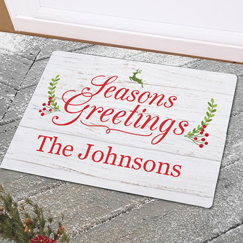Personalized Seasons Greetings Doormat | Personalized Doormats For Christmas