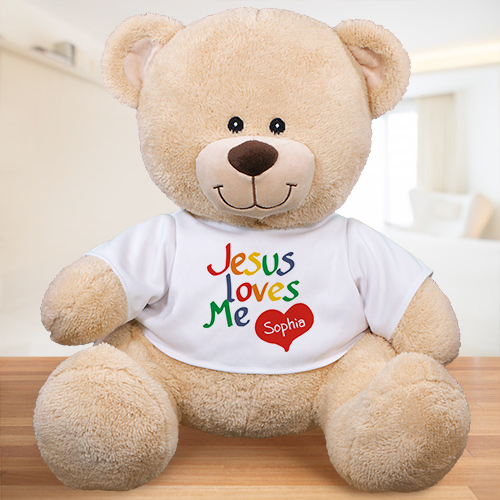 Personalized Jesus Loves Me Teddy Bear | Personalized Stuffed Animals