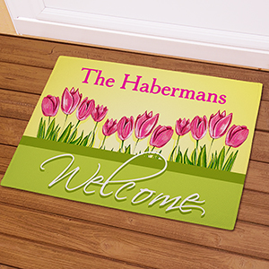 Spring Tulips Personalized Doormat | Personalized Doormats