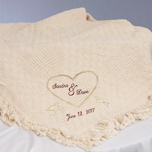 Embroidered Wedding Heart Afghan | Personalized Wedding Gifts