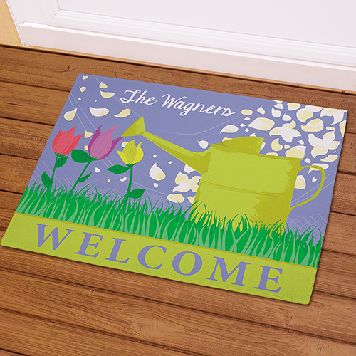 Personalized Watering Can Welcome Doormat | Personalized Doormats
