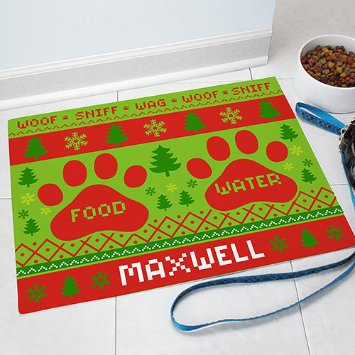Personalized Doggie Christmas Sweater Food Mat 83199087