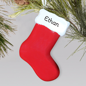 Red Stocking Engraved Christmas Ornament | Personalized Christmas Ornaments For Kids