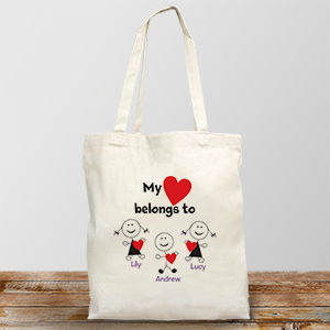 Personalized Belongs To Heart Tote Bag | Personalizable Totes