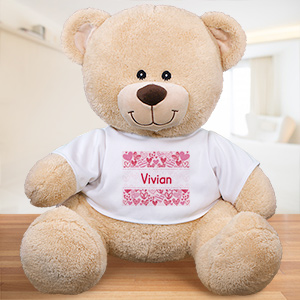Personalized Pink Hearts Kids Bear 839996X