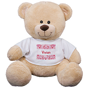 Personalized Pink Hearts Kids Bear