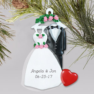 Personalized Bride and Groom Christmas Ornament | Personalized Couples Ornament