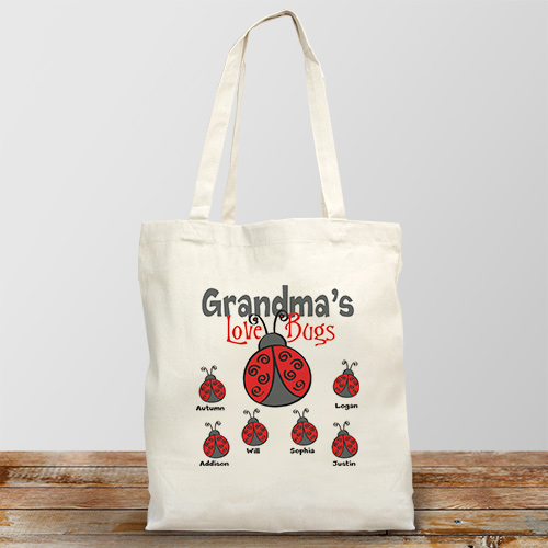 Personalized Love Bugs Tote Bag | Personalized Gifts For Grandma