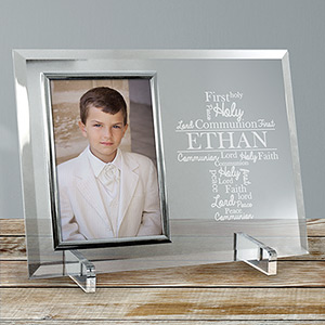 Engraved First Communion Word-Art Glass Frame