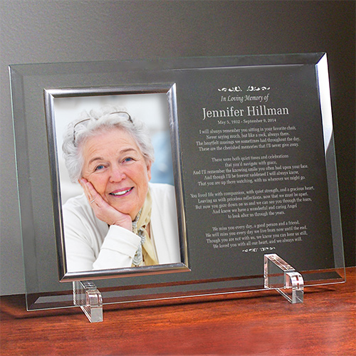 In Loving Memory Personalized Beveled Glass Picture Frame | In Memory Of Gifts